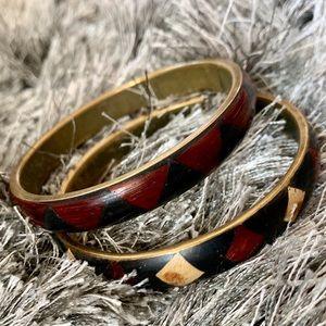 Jewelry - Vintage brass bangles with geometric wood inlay.